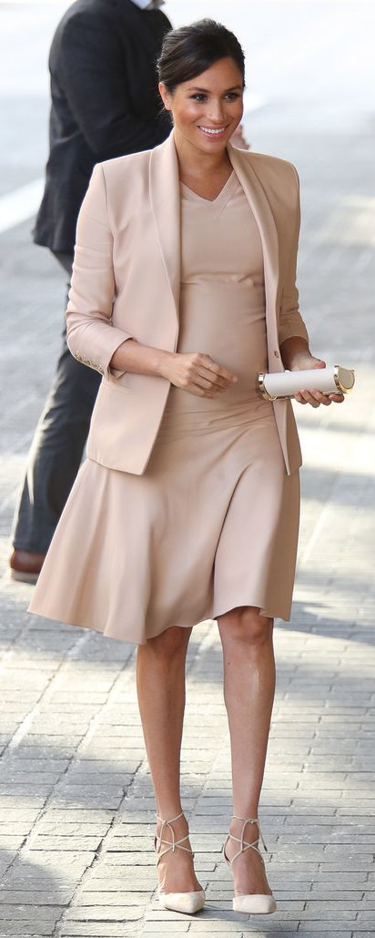 Brandon Maxwell Neutral V-Neck Dress as seen on Meghan Markle, the Duchess of Sussex