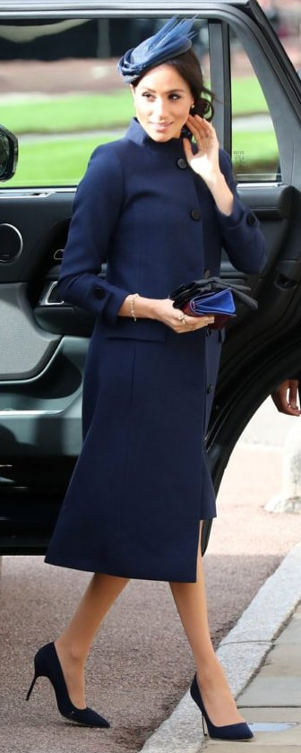 Prada Dark Blue Leather Gloves as seen on Meghan Markle, the Duchess of Sussex at wedding of Princess Eugenie and Jack Brooksbank