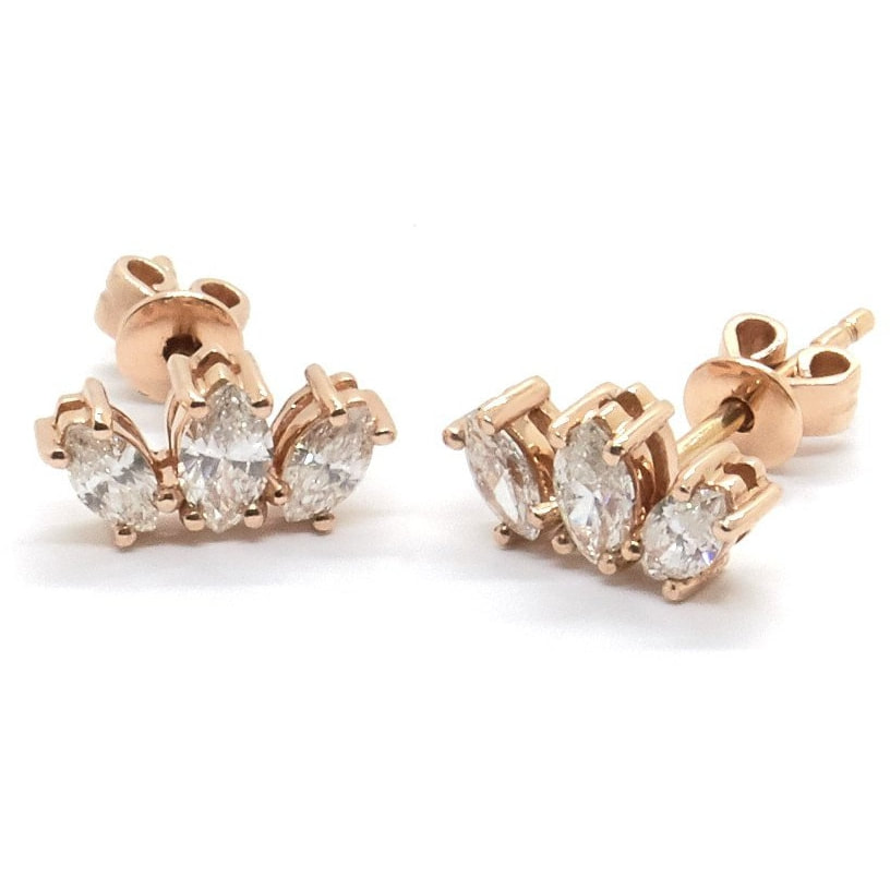 Adina Reyter Three Diamond Amigos Curve Post Earrings