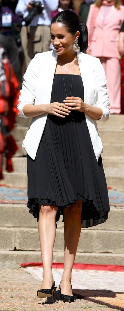 Loyd/Ford Black Pleated Mini Dress Dress as seen on Meghan Markle, the Duchess of Sussex