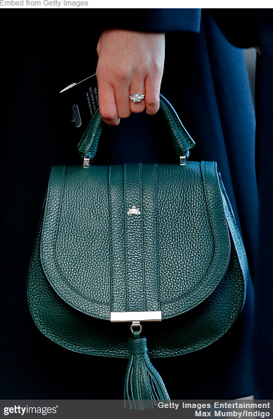 Meghan Markle carries Demellier London 'The Mini Venice' in Forest Green