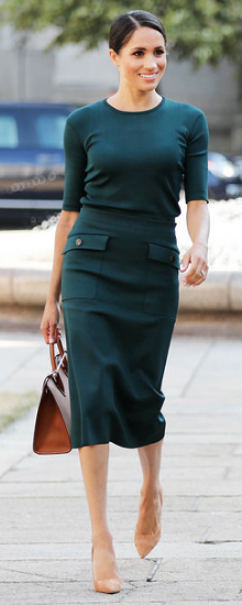 Givenchy Green Crew Neck Knit Top as seen on Meghan Markle, the Duchess of Sussex in Dublin Ireland