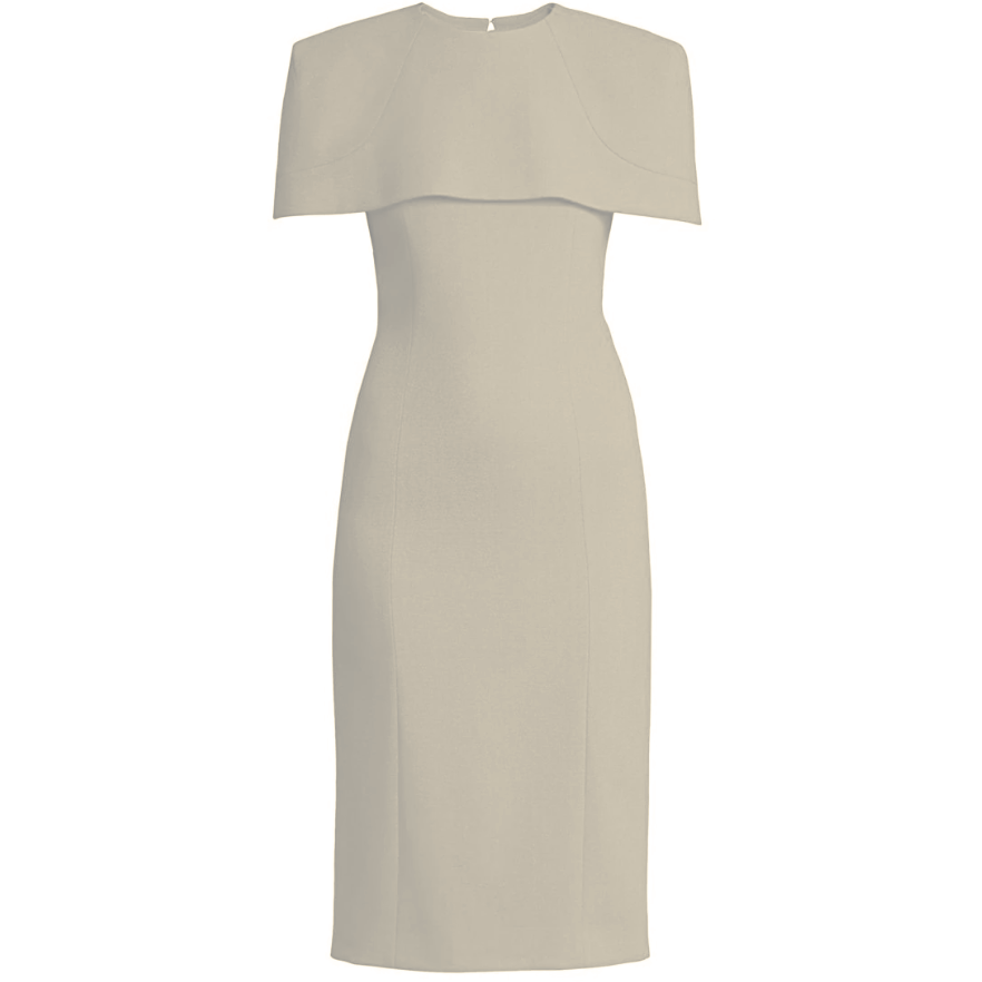Givenchy Cream Sheath Dress with Capelet