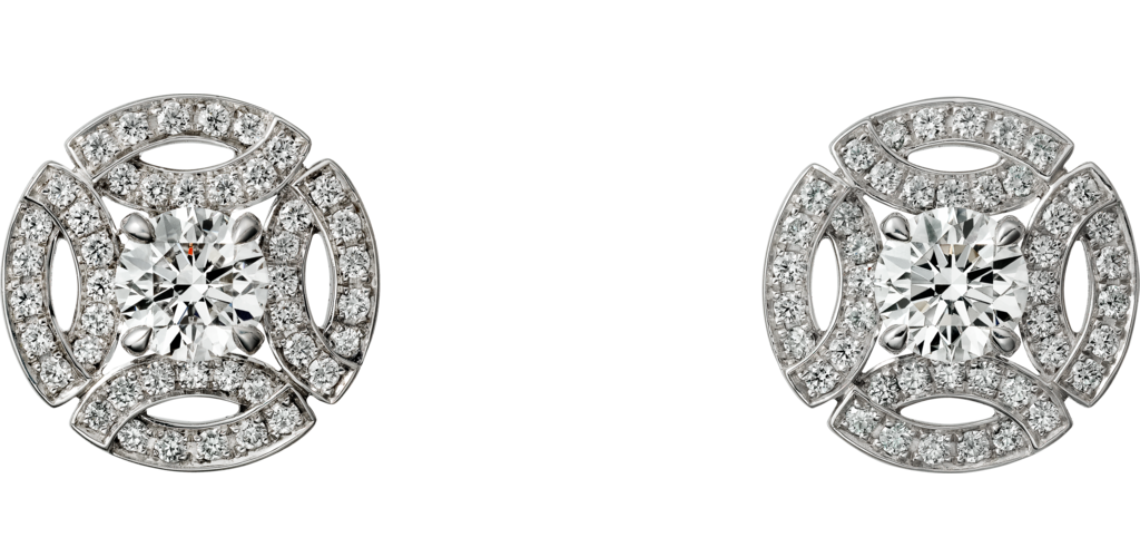 Cartier White Gold and Diamond Galanterie Stud Earrings