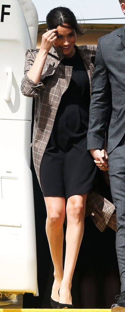 ASOS DESIGN Maternity Black Wiggle Mini Dress as seen on Meghan Markle, the Duchess of Sussex in Wellington