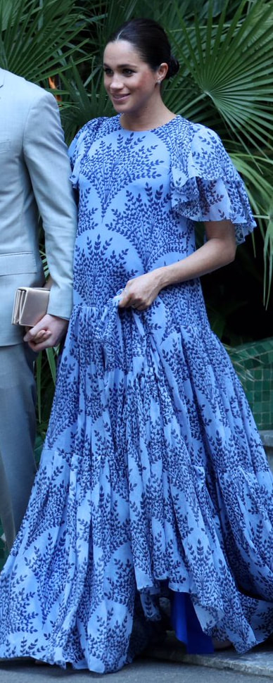 Carolina Herrera Floral Printed Chiffon Gown as seen on Meghan Markle, the Duchess of Sussex