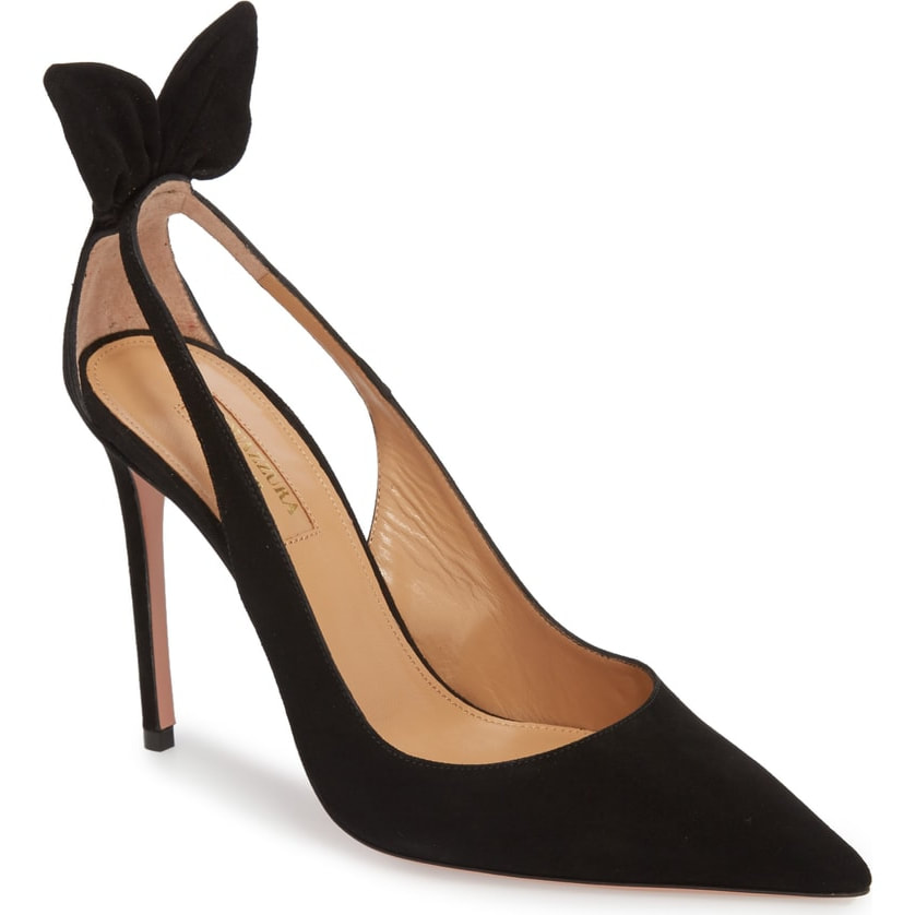 Aquazzura Deneuve Black Bow Pointy Toe Pump