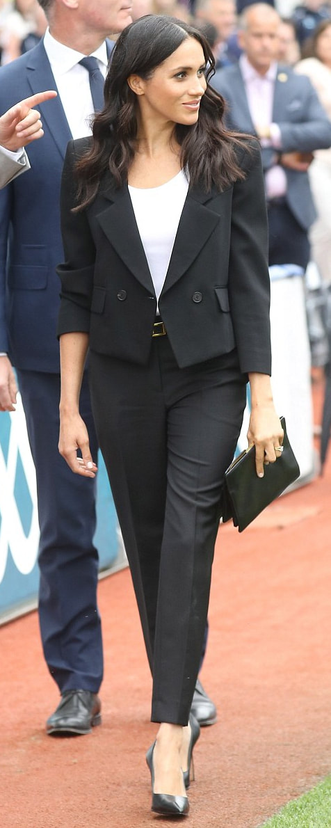 Givenchy Black Tapered Trousers as seen on Meghan Markle, the Duchess of Sussex