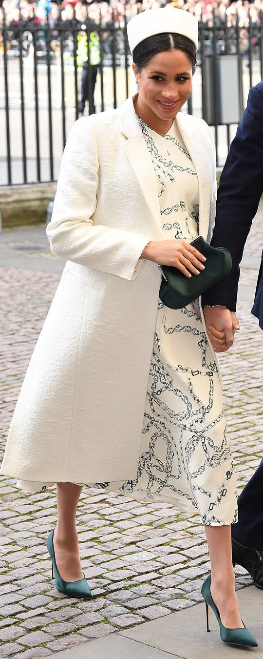 Victoria Beckham White Textured Coat as seen on Meghan Markle, the Duchess of Sussex