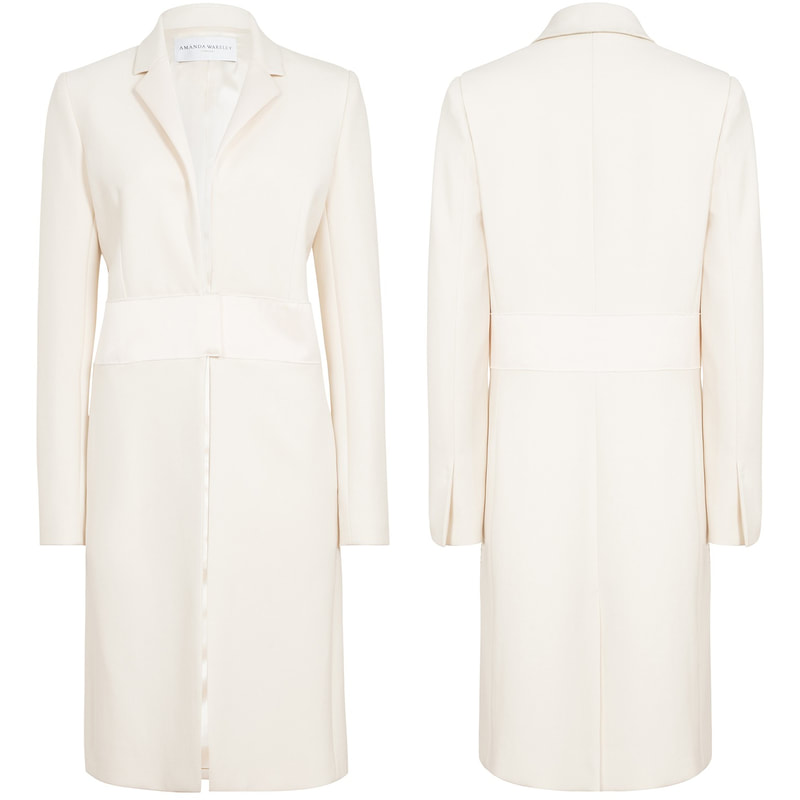 Amanda Wakeley Cream Sculpted Tailoring Crombie Coat