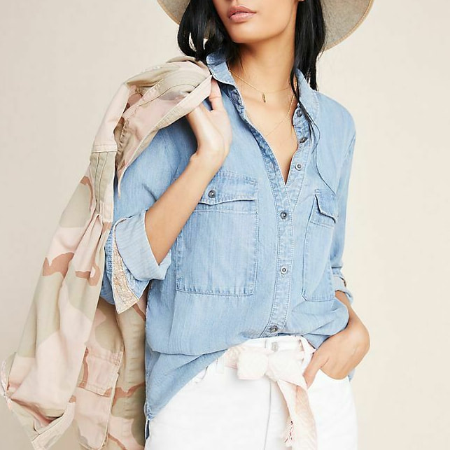Anthropologie Pilcro The Cate Classic Chambray Shirt