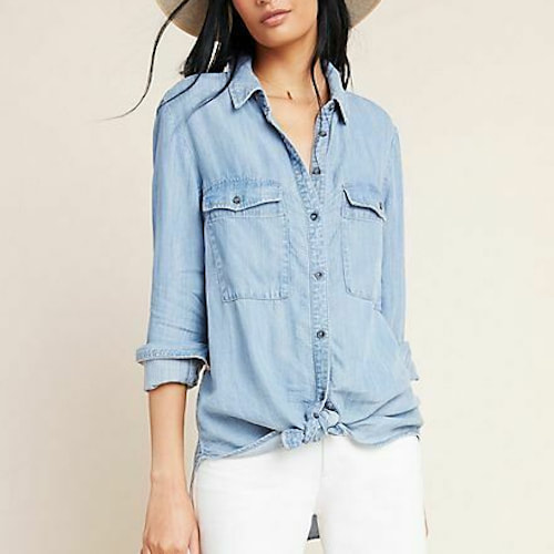 Anthropologie Pilcro The Cate Classic Chambray Shirt​
