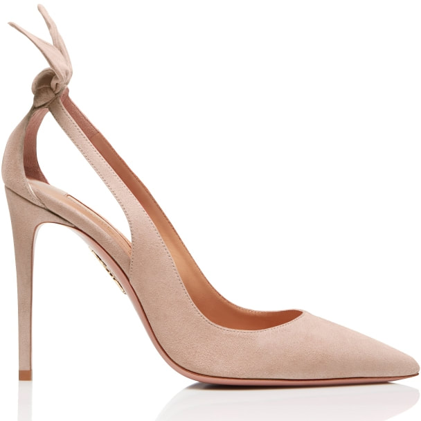 Aquazzura 'Deneuve' bow cutout suede pumps