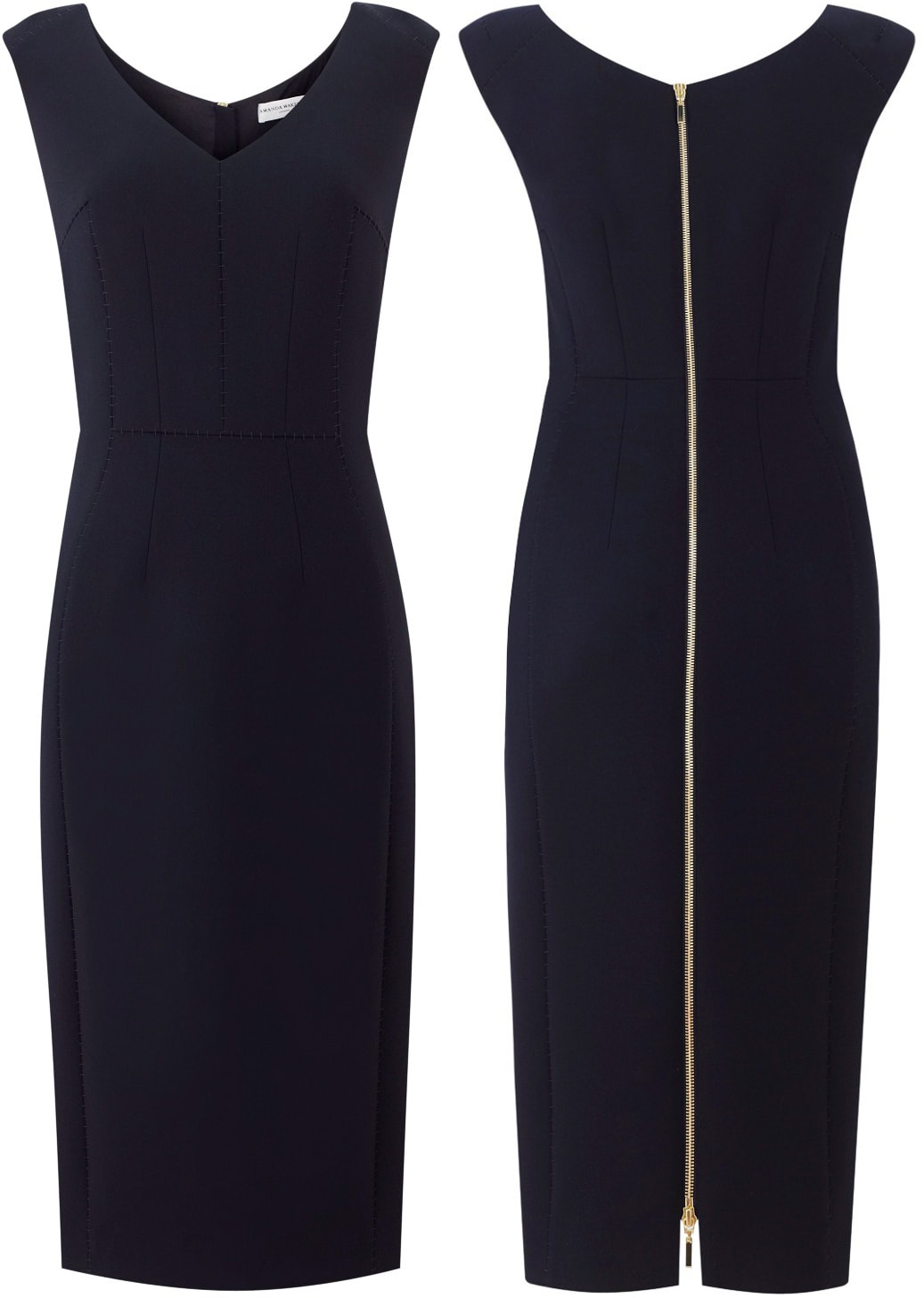 Amanda Wakeley Springsteen Midnight Blue Tailored Midi Dress aso Meghan Markle