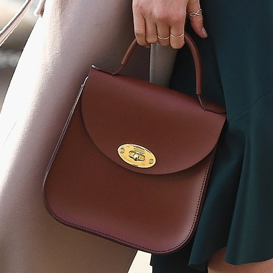 Charlotte Elizabeth Bloomsbury bag in chestnut leather as seen on Meghan Markle in Belfast