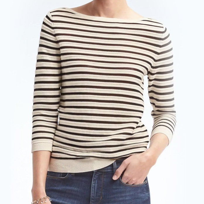 Banana Republic White/Black Sailor Stripe Boatneck Pullover