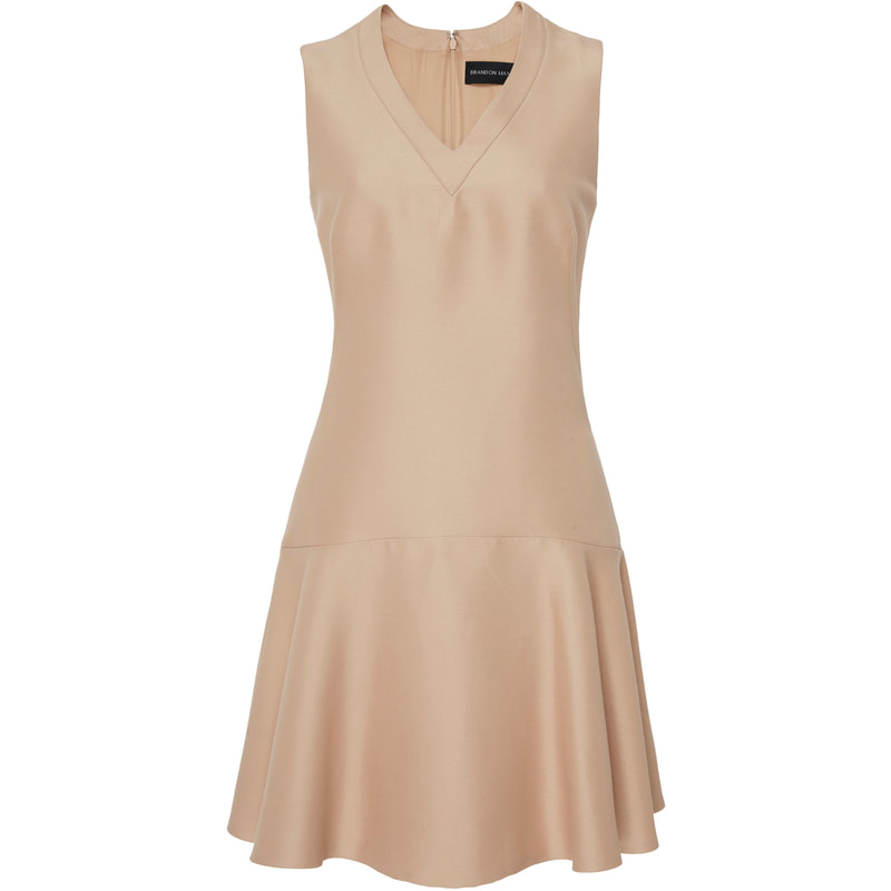 Brandon Maxwell Neutral V-Neck Dress