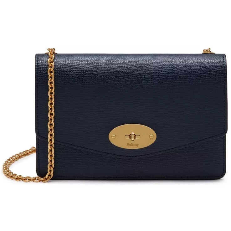Mulberry Small Darley Satchel in Bright Navy Cross Grain Leather