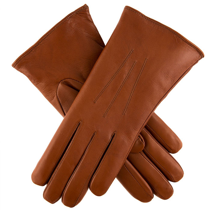 Dents Ripley Fur Lined Cognac Leather Gloves