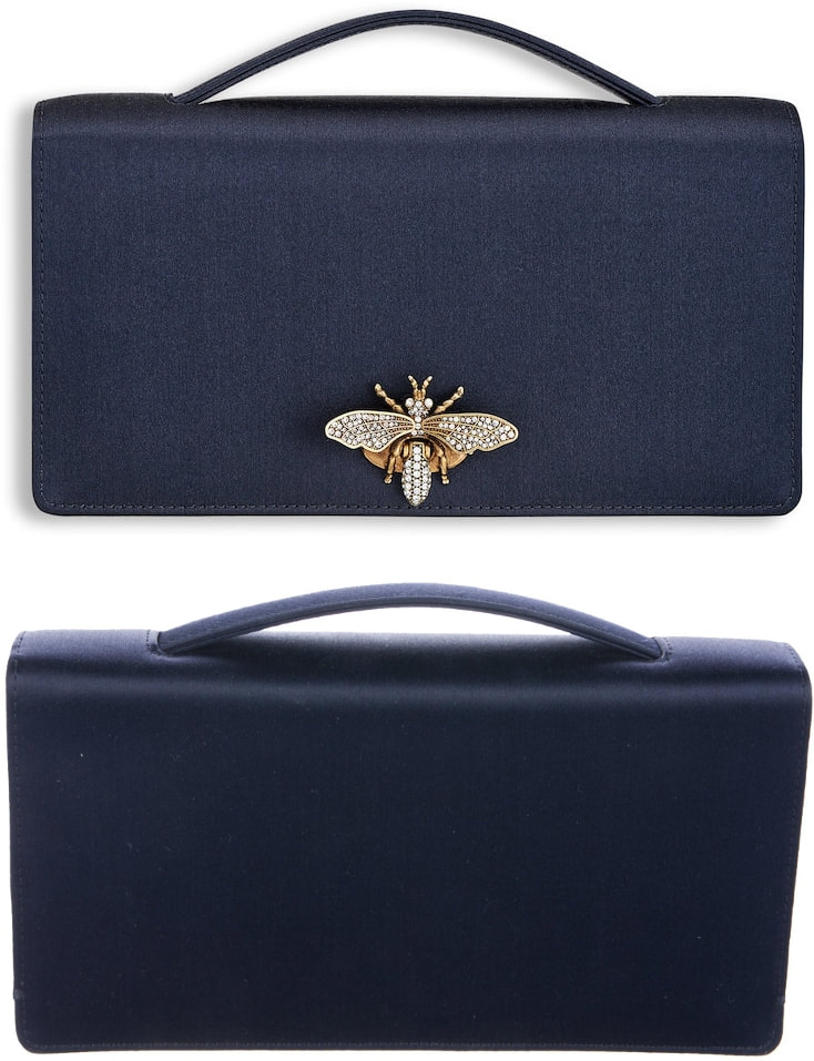 Dior Navy Satin Clutch Bag