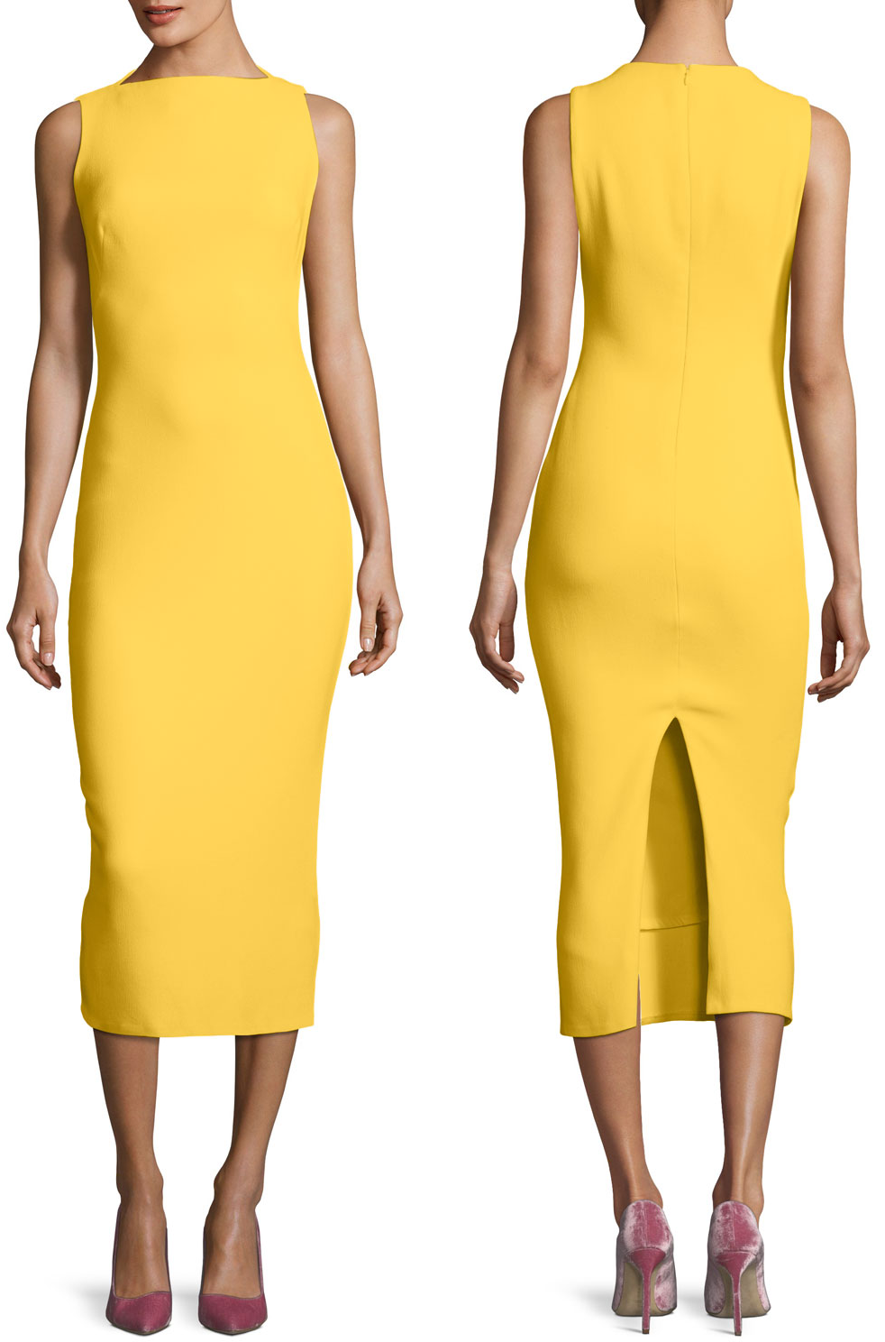 Brandon Maxwell Yellow Sleeveless Boat-Neck Double-Face Crepe Sheath Midi Dress