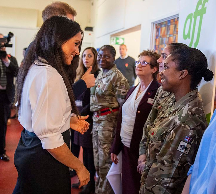Duchess Meghan Markle visited families from the Welsh Guards, Coldstream Guards and Household Cavalry at the Broom Farm Community Centre