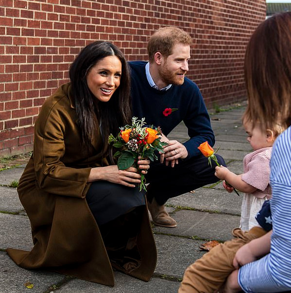 Harry and Meghan Sussex visited families from the Welsh Guards, Coldstream Guards and Household Cavalry at the Broom Farm Community Centre