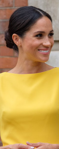 Adina Reyter 14k Gold Three Diamond Amigos Curve Post Earrings as seen on Meghan Markle, the Duchess of Sussex