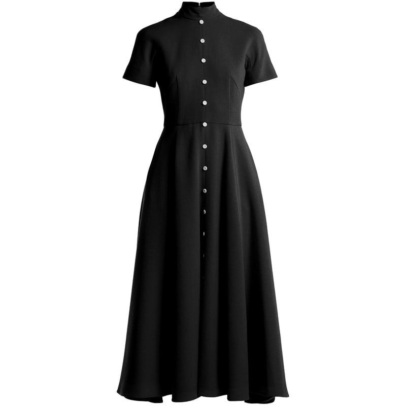 Emilia Wickstead Camila Black Button Midi Dress
