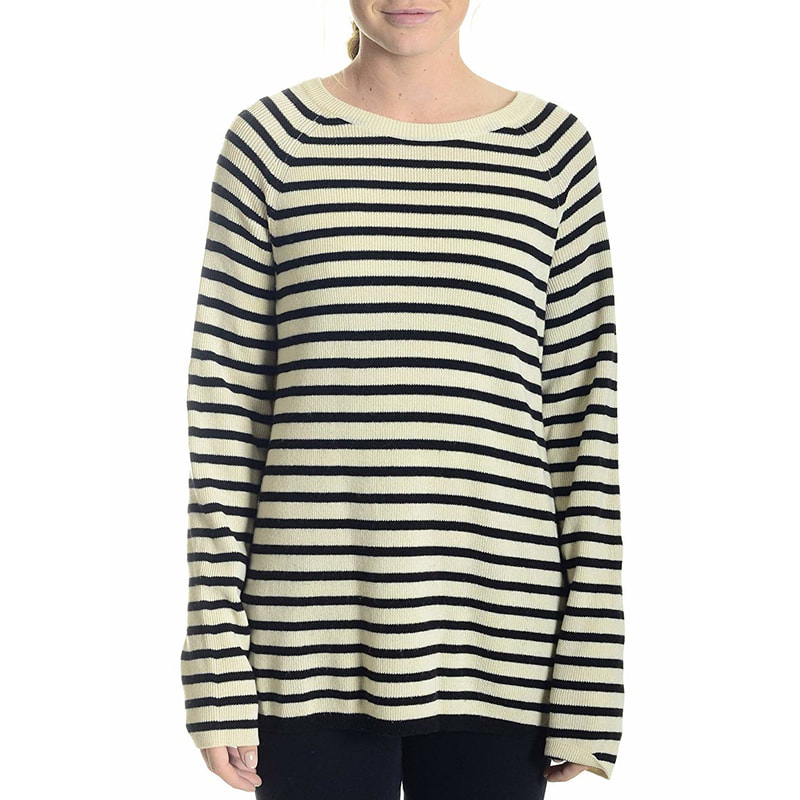 Equipment Femme Lucian Ivory/Black Crew Neck Side Zip Sweater