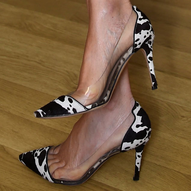 Gianvito Rossi Plexi Cow Print Pumps