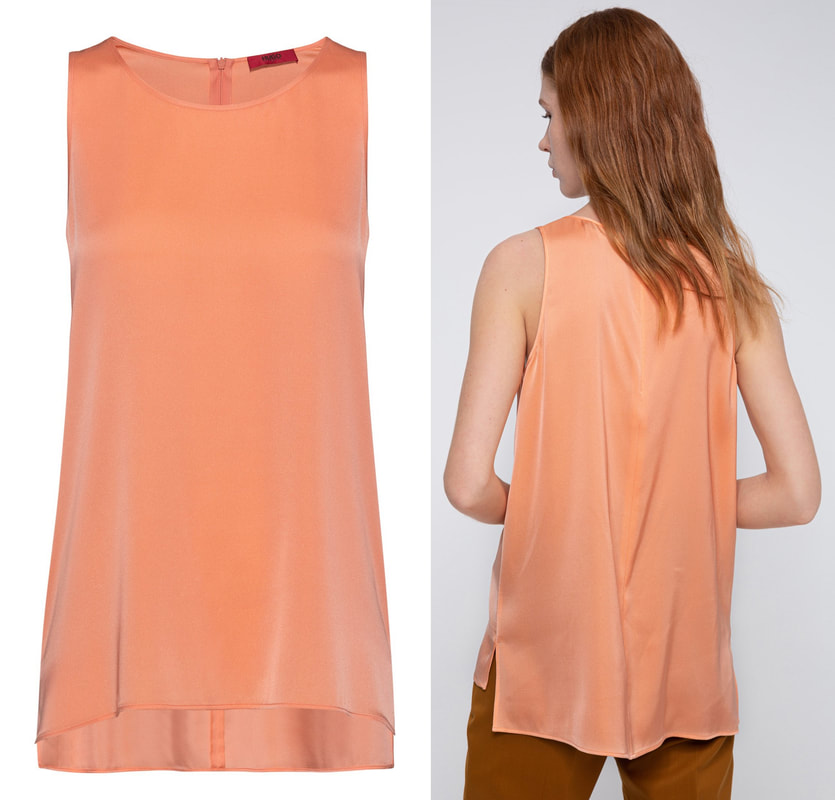 Hugo Boss 'Cisona' light orange regular-fit sleeveless top in stretch silk
