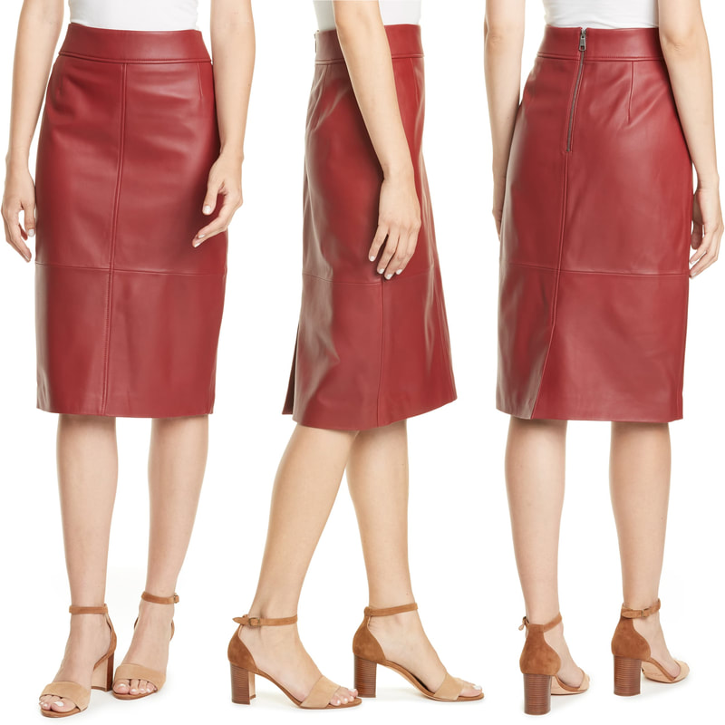 Hugo Boss 'Selrita' ruby red leather pencil skirt