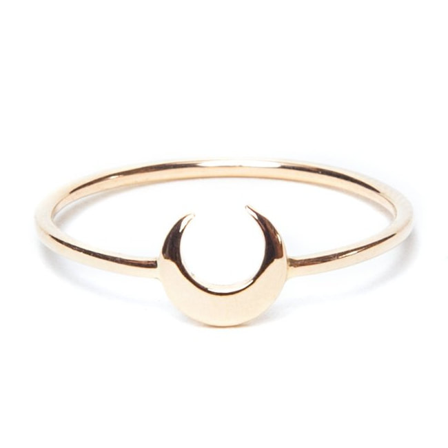 i+i Jewellery Gold crescent moon ring