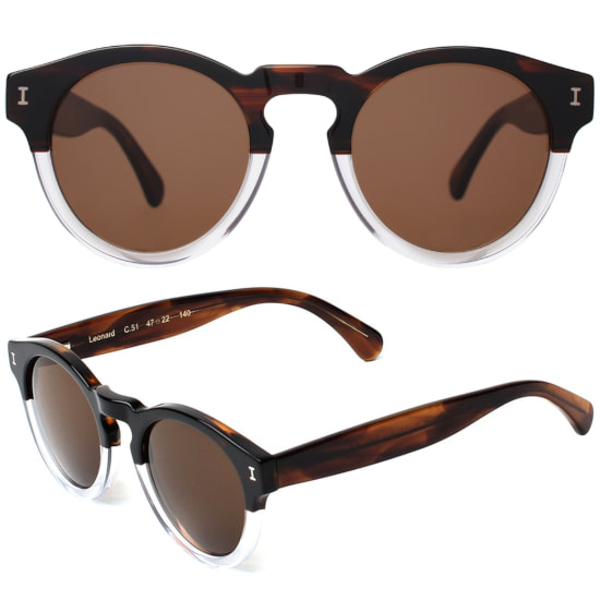 Illesteva Leonard Sunglasses in Half / Half with Brown Lenses