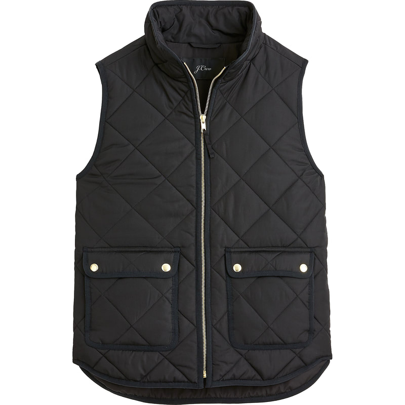 J.Crew Black Excursion Quilted Down Vest