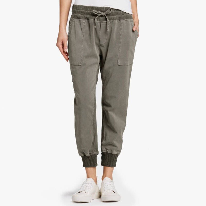 James Perse Army Green Mixed Media Jersey Pant