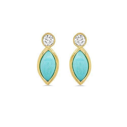 Jennifer Meyer Diamond Bezel & Turquoise Marquise Stud Earrings