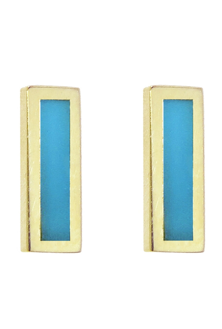 Jennifer Meyer Turquoise Inlay Bar Earrings