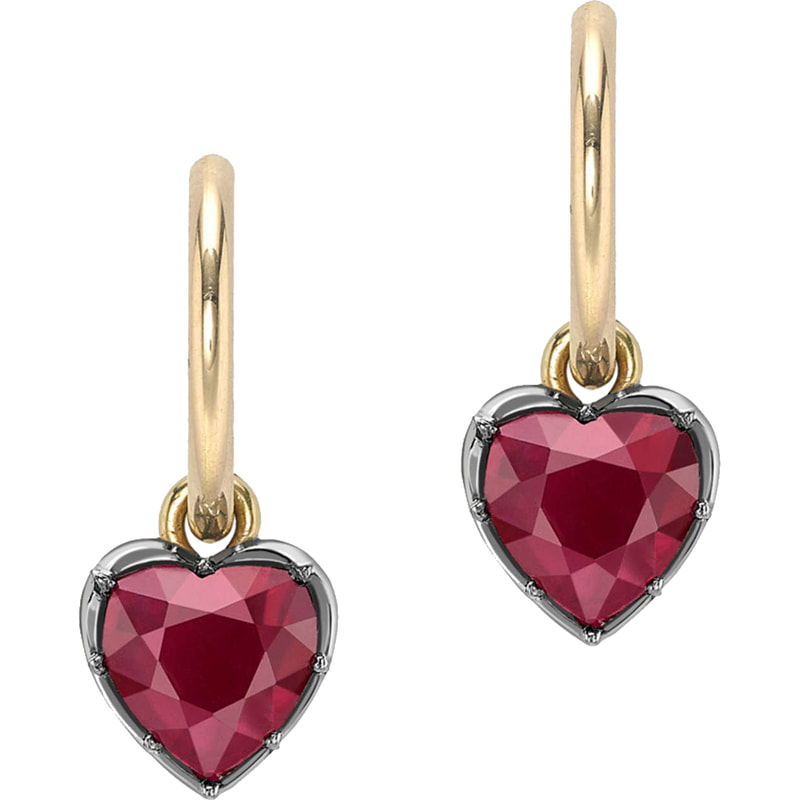 Jessica McCormack Signature GYPSET Ruby Heart Hoop Earrings
