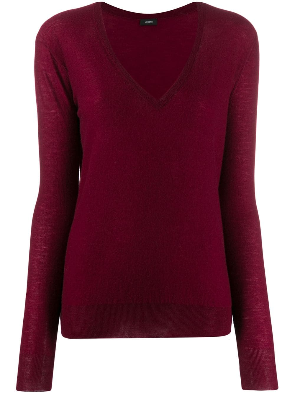Joseph Garnet Red V Neck Cashair Knit