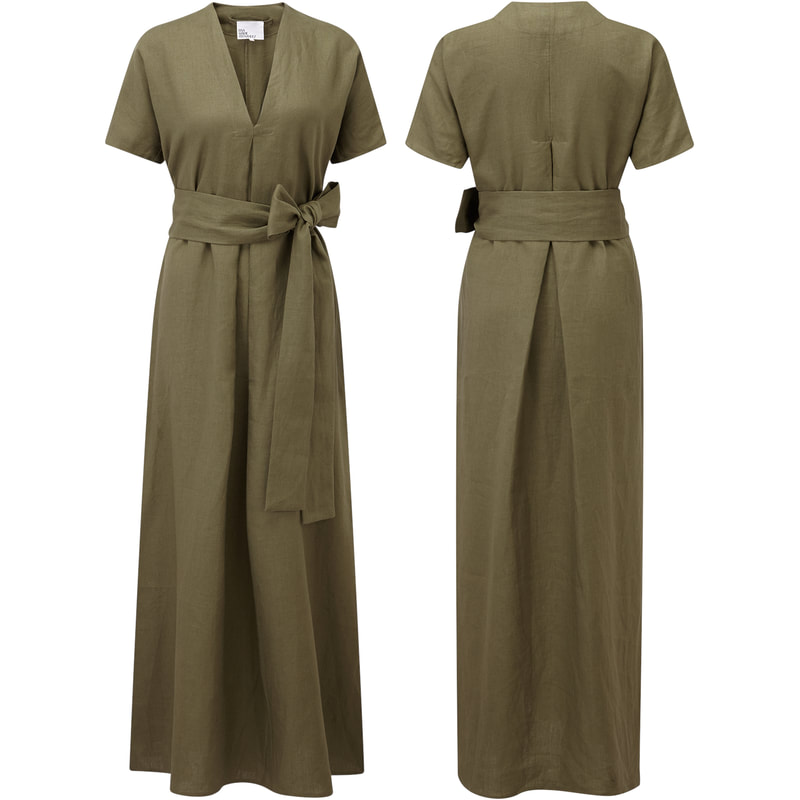 Lisa Marie Fernandez khaki-green linen 'Rosetta' dress Meghan Markle