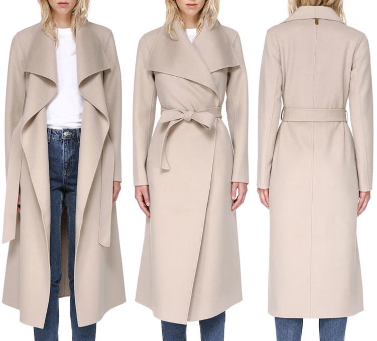 Mackage Mai Sand Belted Wool Coat with Waterfall Collar as seen on Meghan Markle