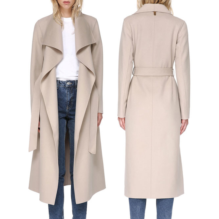 Mackage Mai Sand Belted Wool Coat with Waterfall Collar