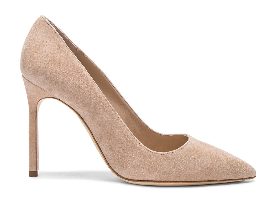 Manolo Blahnik 'BB' Pointy Toe Pump in Beige Suede