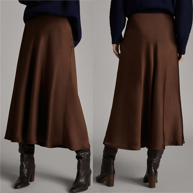 Massimo Dutti brown satin midi skirt