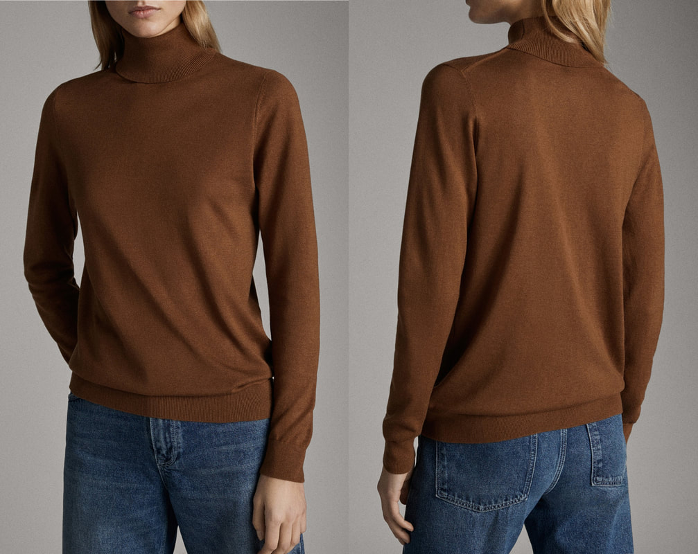 Massimo Dutti Toffee Brown Plain Silk Wool Sweater