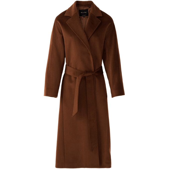 Massimo Dutti Toffee Long Wool Coat with Belt