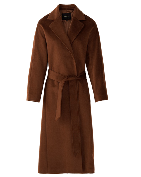 Massimo Dutti Long wool coat with belt