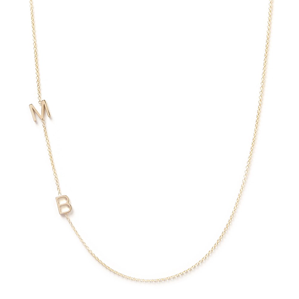 Maya Brenner 14K Gold Asymmetrical Initial Necklace